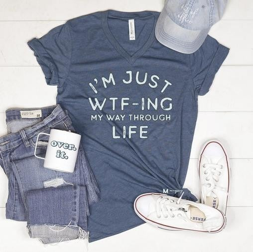 Blue WTF V-Neck Unisex Fit Graphic Tee