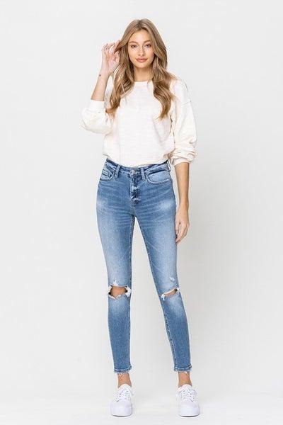 Medium Wash Mid-Rise Knee Rip Ankle Skinny Jeans