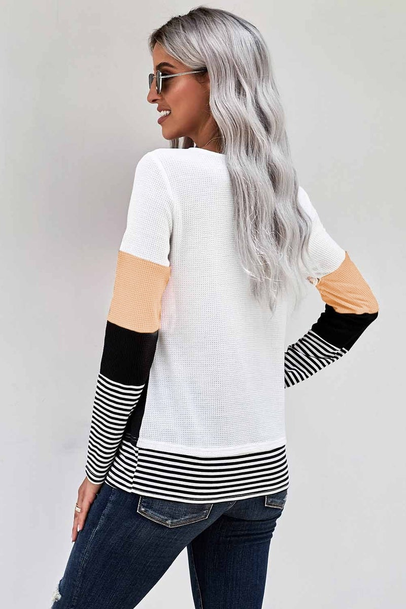 Stripe & Colorblock Waffle Knit Long Sleeve Top