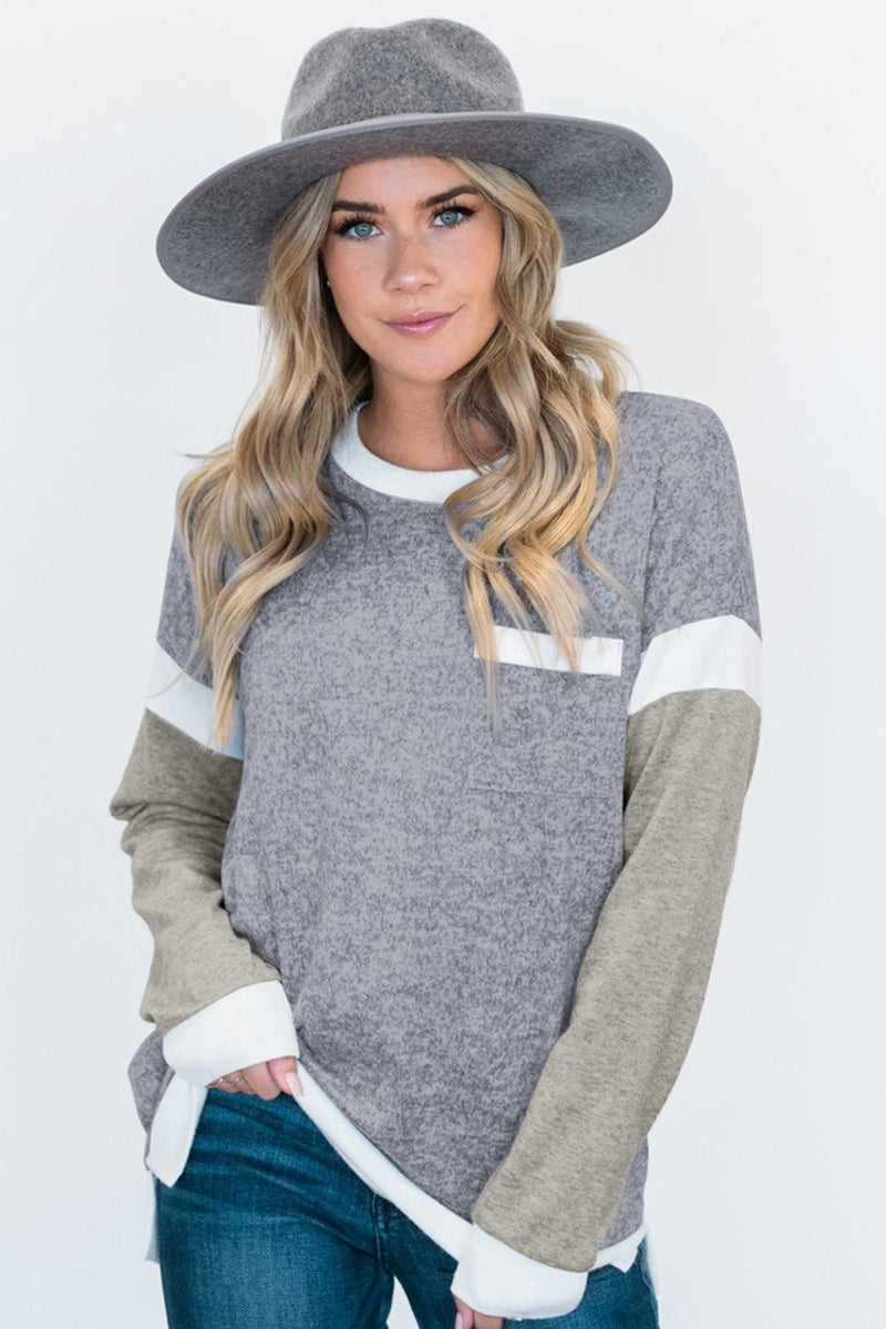 Grey & Light Olive Colorblock Sleeve White  Splicing Lightweight Sweater Knit Top