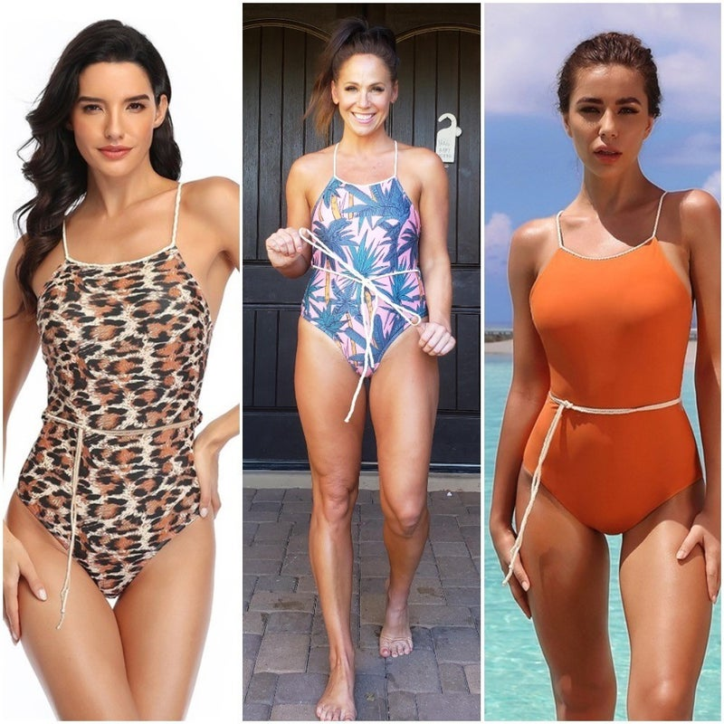 Belted Rope Strap Cheeky One Piece Swimsuit