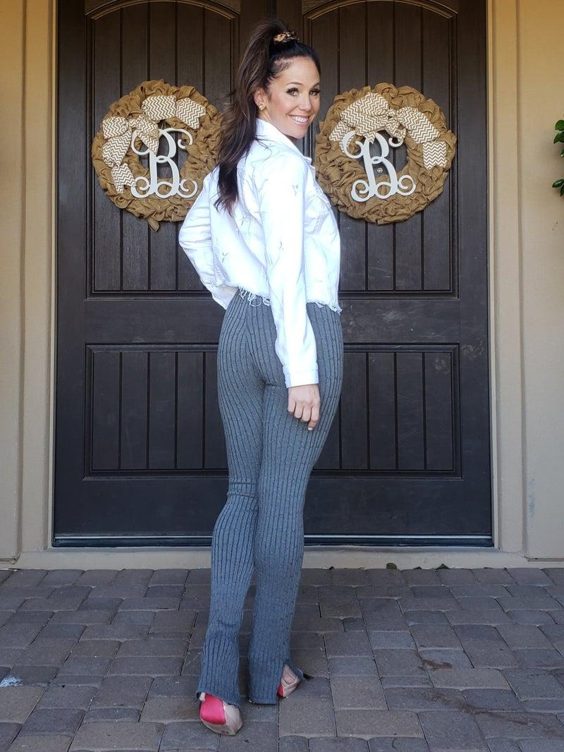 Grey Seamless Sweater Knit Ankle Slit Leggings
