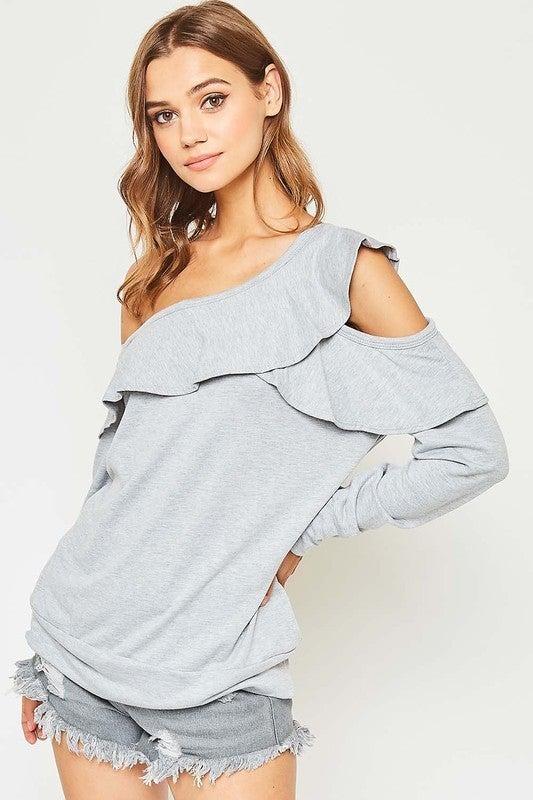 GreyOne Shoulder Long Sleeve Ruffle Top