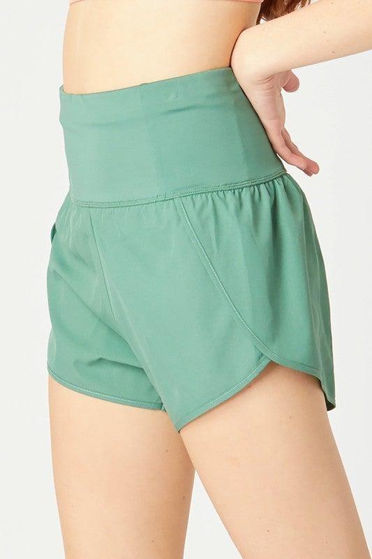 High Waisted Zipper Pocket Athletic Shorts