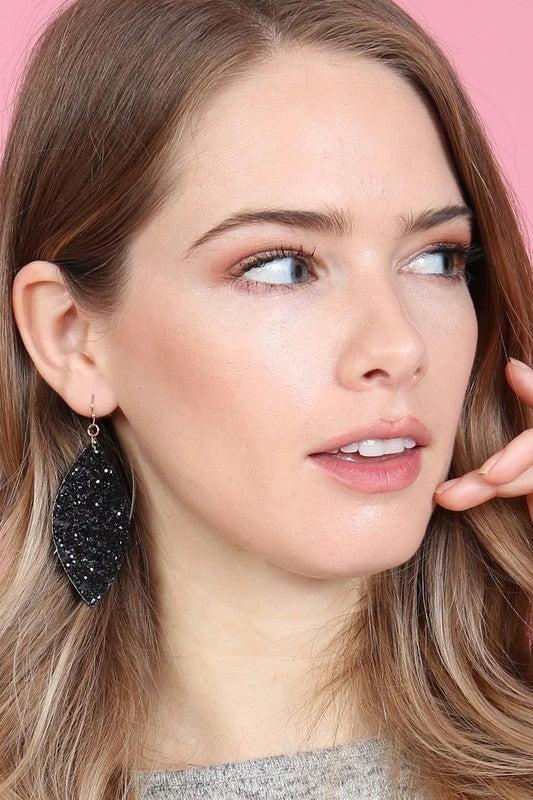 Black Sequin Marquis 4 inch Drop Earrings