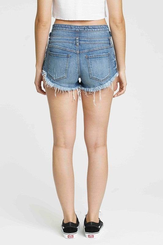Medium Wash Super High Rise Triple Button Stacked Waist Destroyed Raw Hen Jean Shorts
