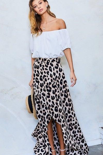 Leopard & White Off the Shoulder Wrap Style Ruffled Leg Slit Dress