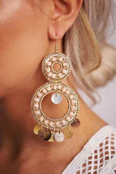 """Rose Gold & White Woven Wire Beaded 4"""" Drop Earrings"""