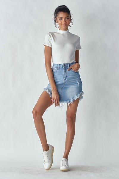Light Wash Vintage Frayed Dolphin Hem Stretchy Frayed Hem Denim Skirt