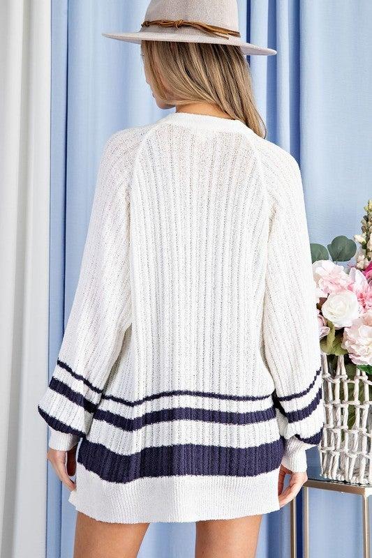 White & Navy Stripe Lightweight Spring Open Front Cardigan