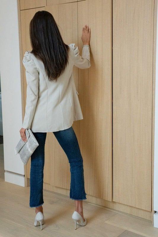 Beige Bubble Shoulder Long Line Blazer
