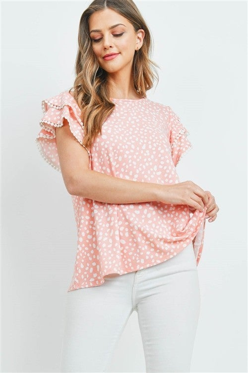 Coral Pink Pebbles PomPon Ruffle Sleeve Top