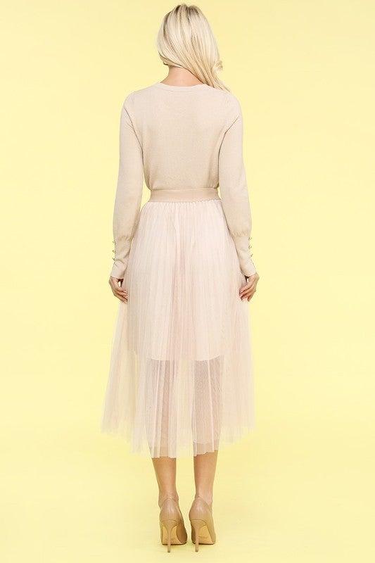Tulle Chiffon Elastic Waist Skirt
