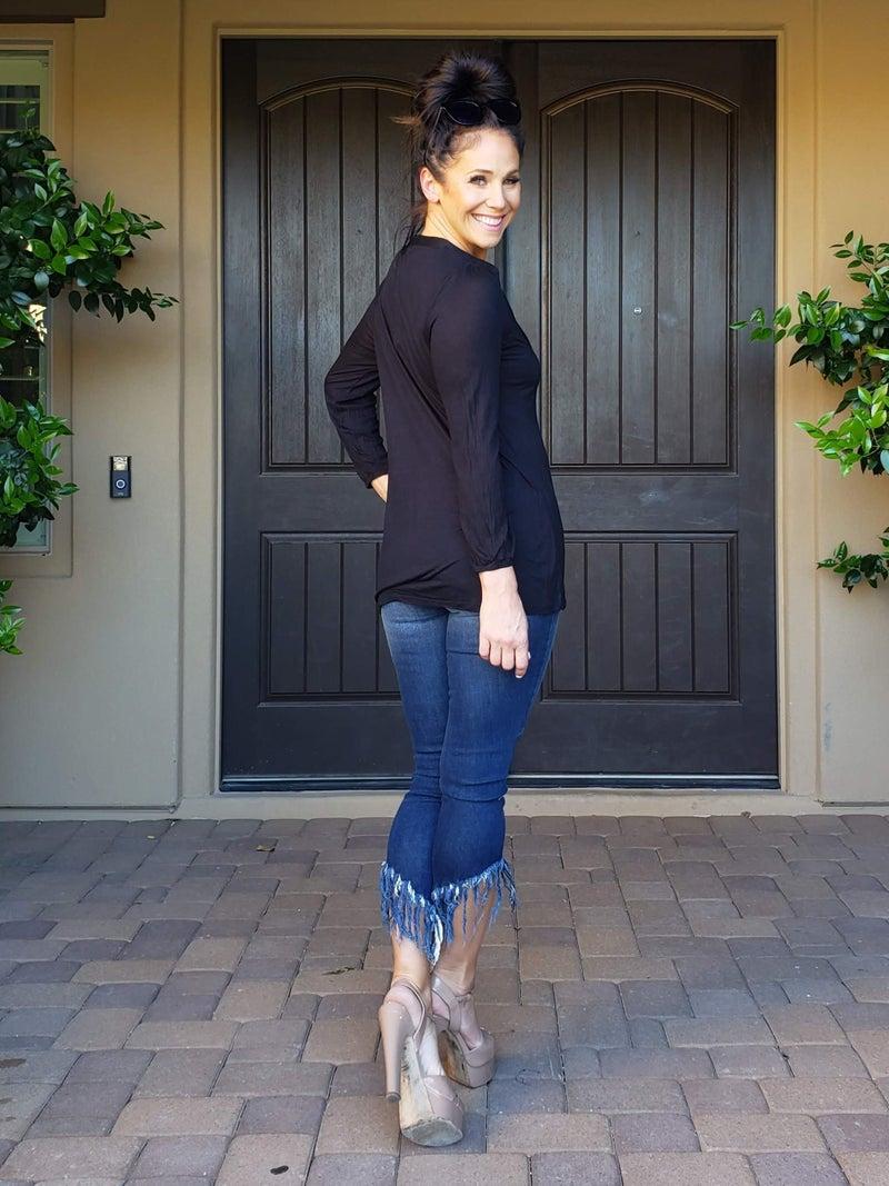 Black Long Sleeve V-Neck Jersey Knit Top