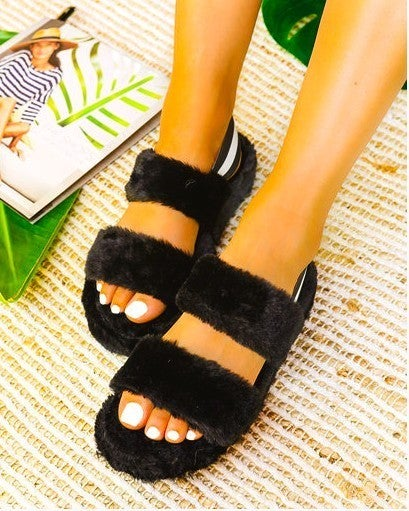 Black Furry Double Strap Elastic Back Slipper Sandals
