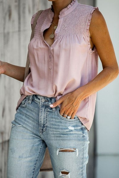 Frilled Sleeveless Button Up Blouse