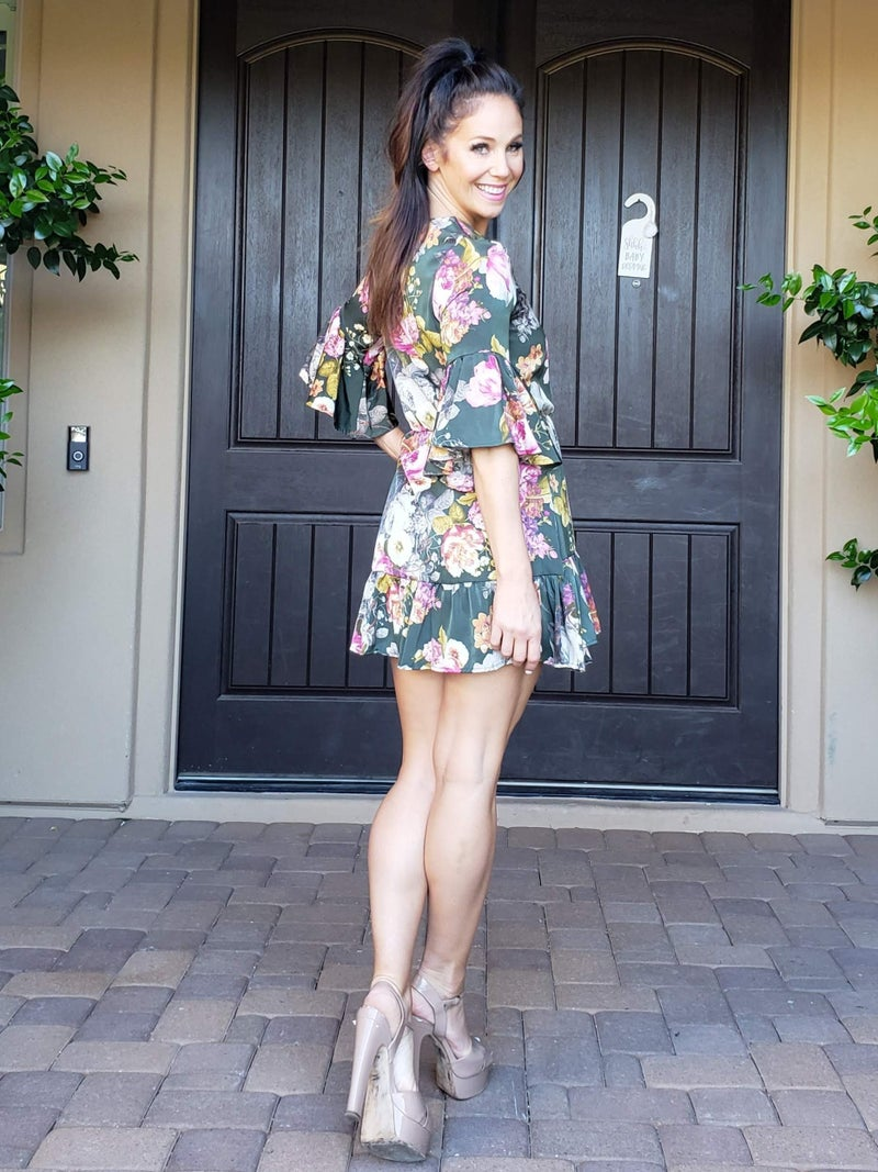 Hunter Green Floral Ruffled Bell Sleeve and Hem Dress