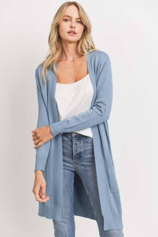 Solid Open Front Sweater Knit Long Line Pocket Cardigan