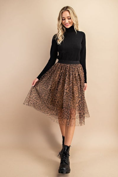 Cheetah Print Mesh Midi Skirt