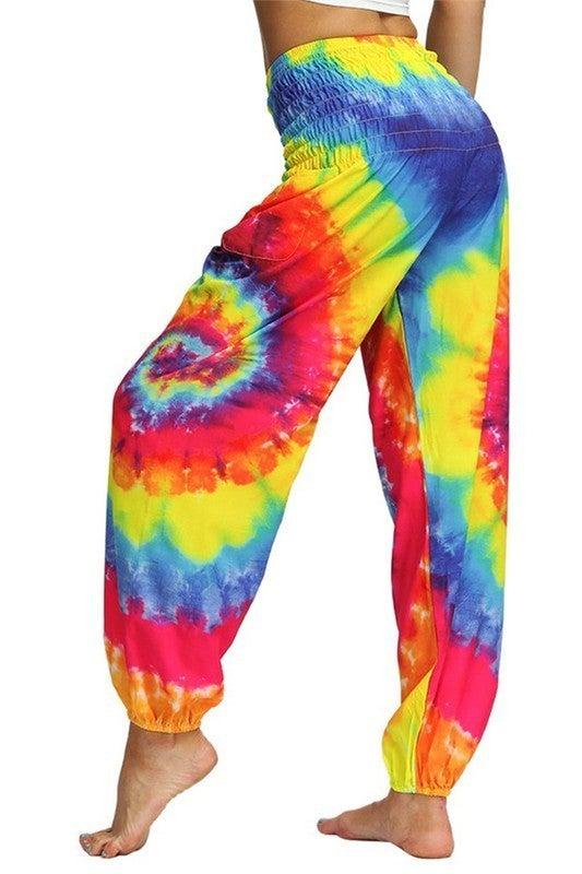 Boho Tie Dye Casual Loose Hippy Harem Pocket Joggers