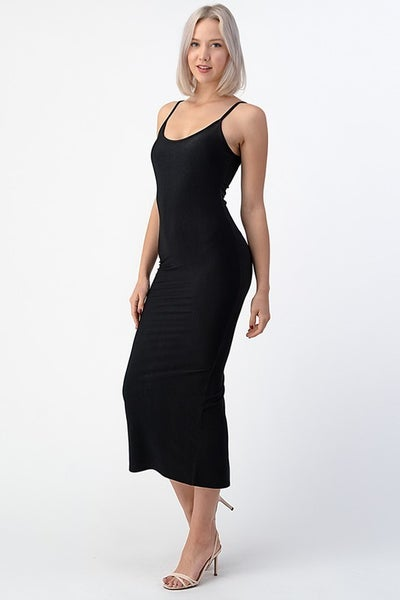 Black Fitted Tea Length Cami Back Slit Midi Dress