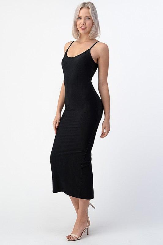 Black Fitted Tea Length Cami Back Slit Midi Dress