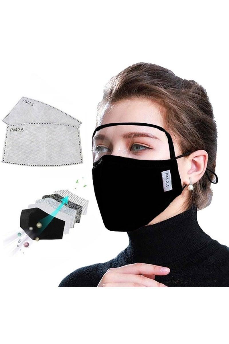 Black Dustproof Windproof Eye Shield Mask with 2 Filters