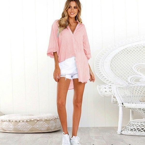 Linen Long Line Button Up Shirt
