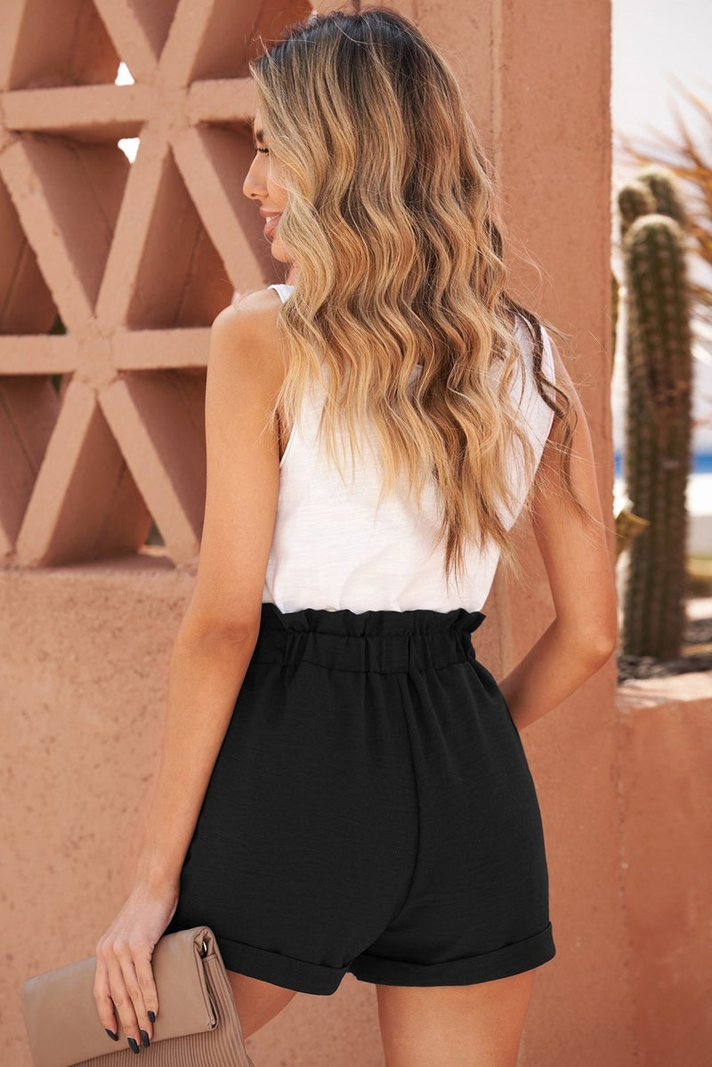 Black Casual Paperbag Waist Belted Shorts with POCKETS
