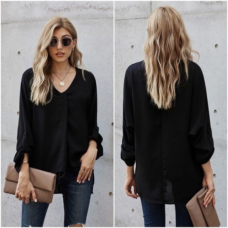 V-Neck Rolled & CuffedSleeve High Low Pleated Front Blouse