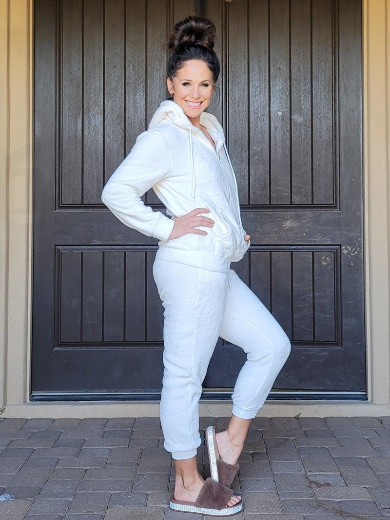 White Fleece Zip Up Hoodie & Jogger Set