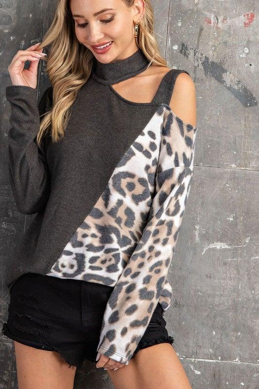 Charcoal Leopard Strappy Mock Neck Cold Shoulder Top