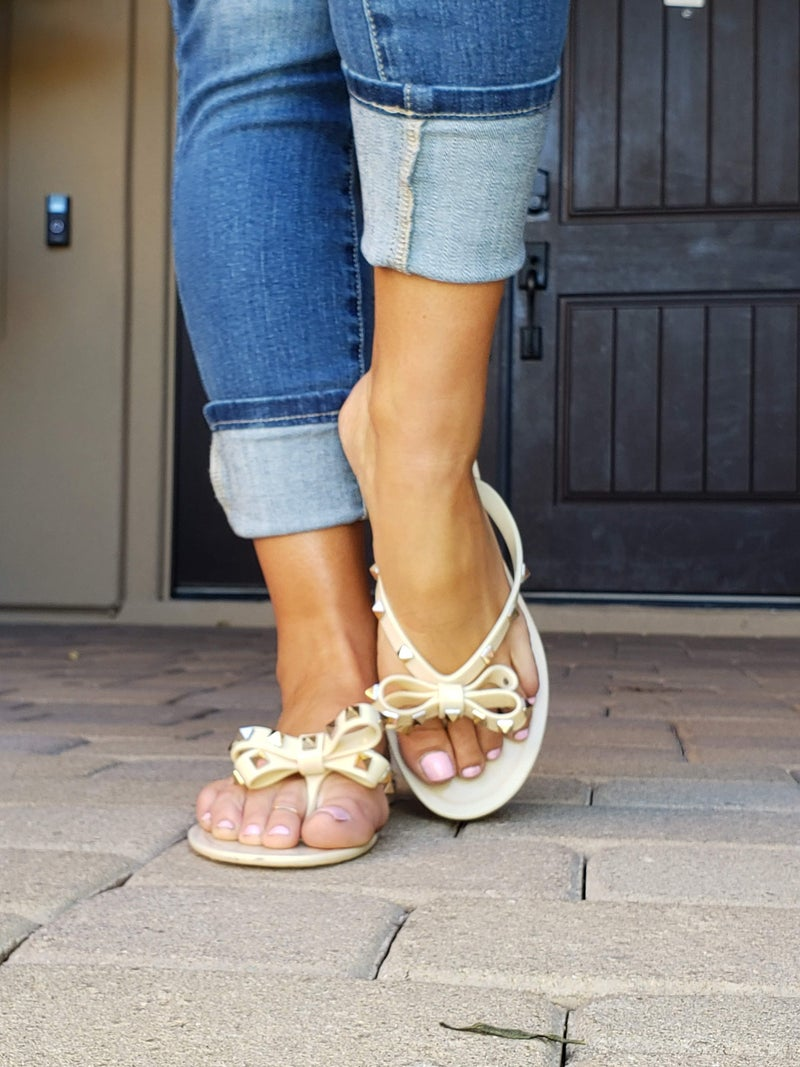 Nude Spiked Studded Bow Valentino Look-A-Like Jelly Sandals *Final Sale*