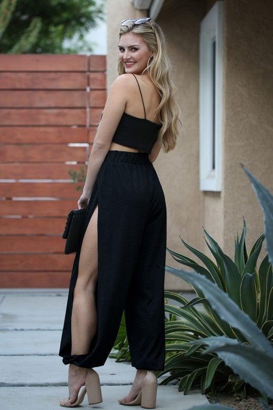 Black Jersey Knit Side Slit Joggers