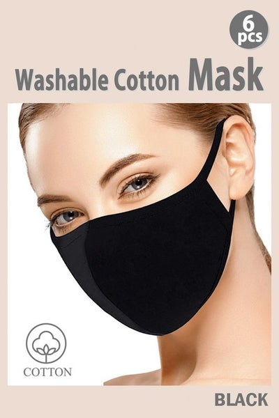 Black Cotton Fabric Mask