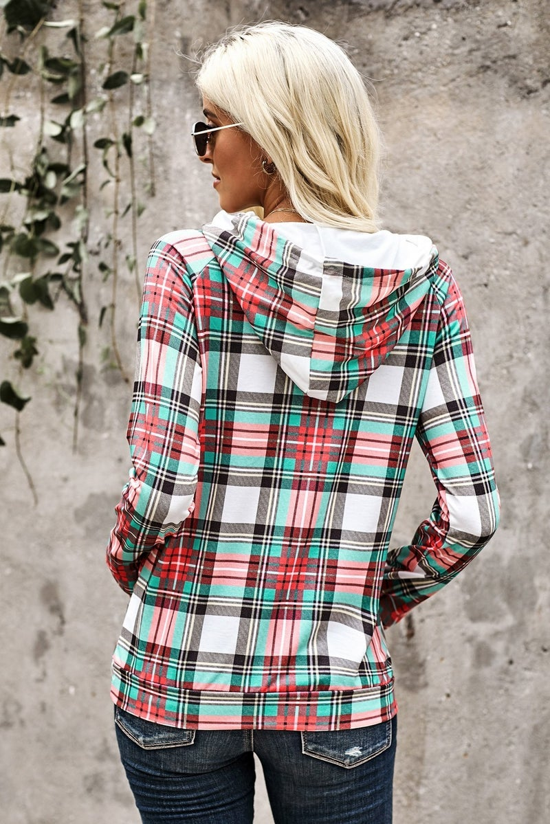 Plaid Cowl Neck Double Drawstring Hoodie with Thumbholes