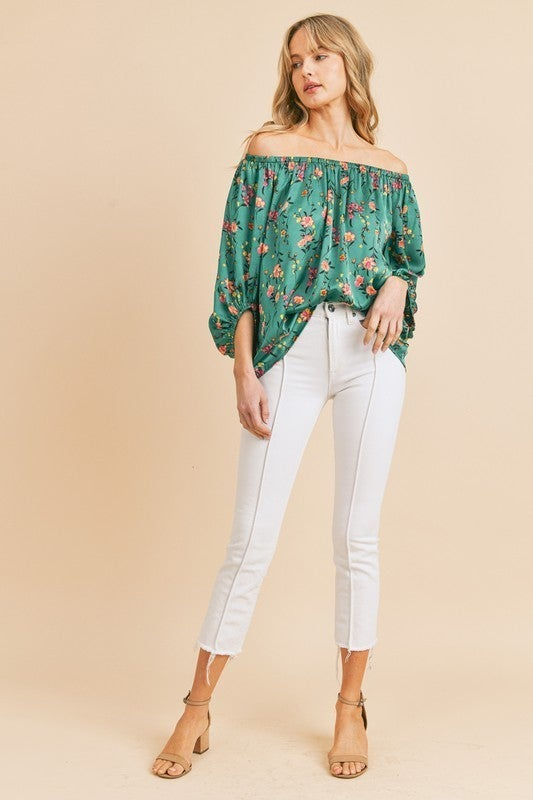 Green Floral Satin Off the Shoulder long Puff Sleeve Blouse