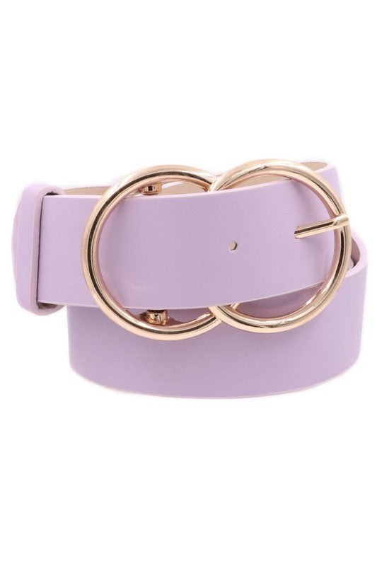 Faux Leather Double Metal Ring Buckle Belt