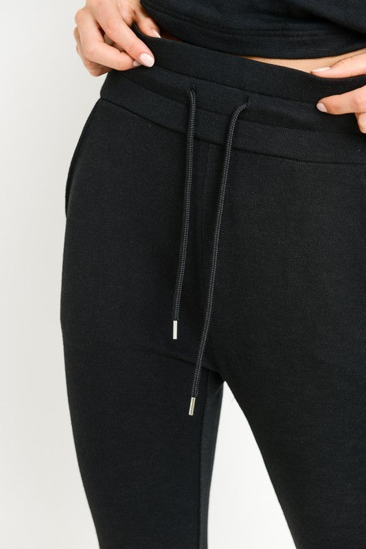 Black High-Waist Slim Fit Cuffed Legging Joggers with Pockets