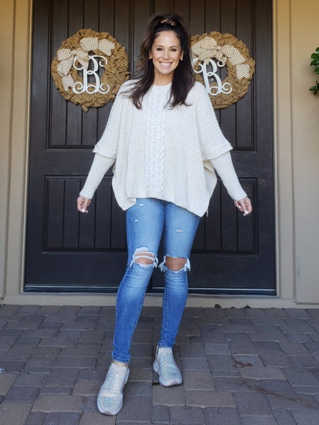 Beige Crochet Long Sleeve Poncho Sweater