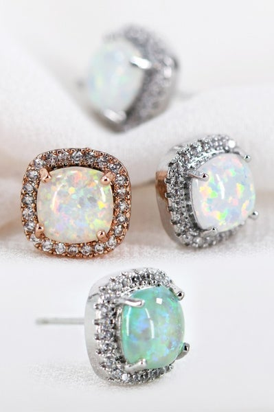 Dainty Opal & CZ Square Stud Earrings
