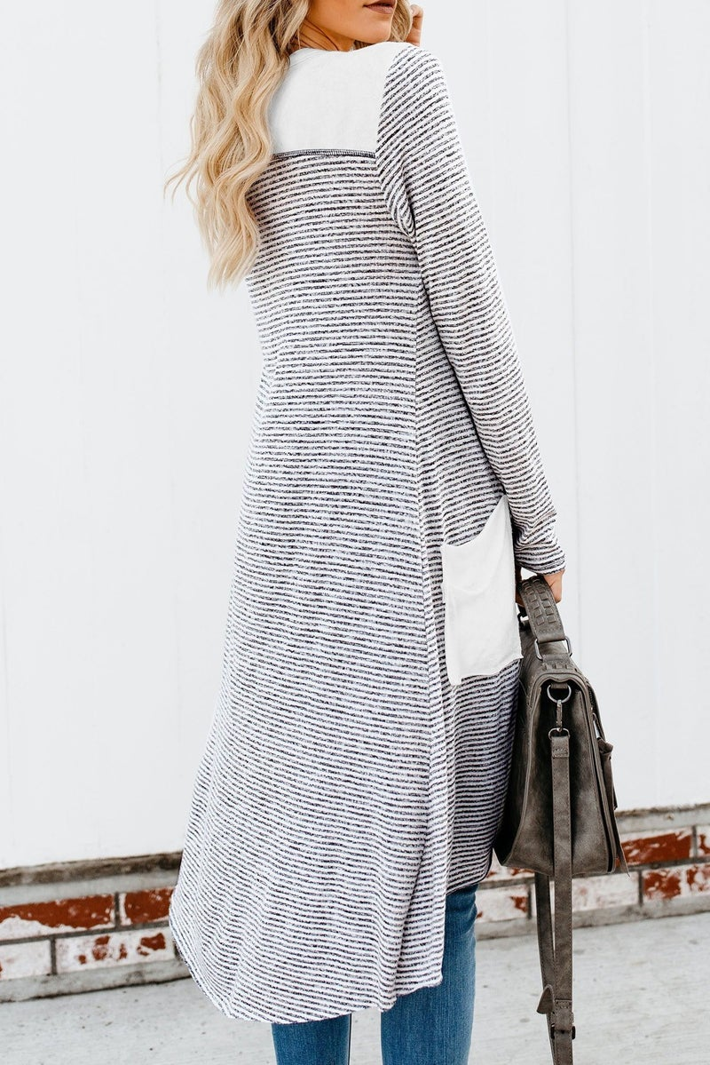 Grey & White Stripe Patchwork Long Line Button Front Cardigan