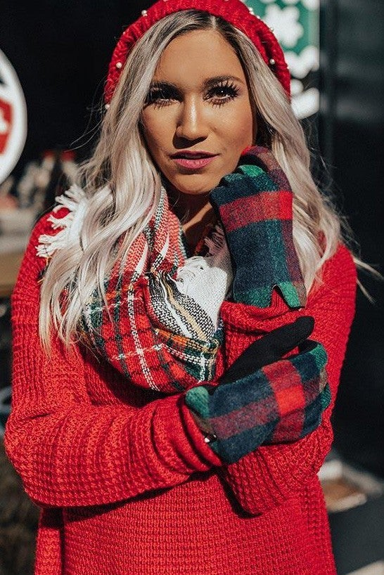 Red & Green Plaid Smart Touch Gloves *Final Sale*