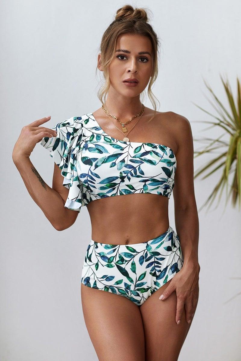 Ruffled One Shoulder High Waisted Bikini