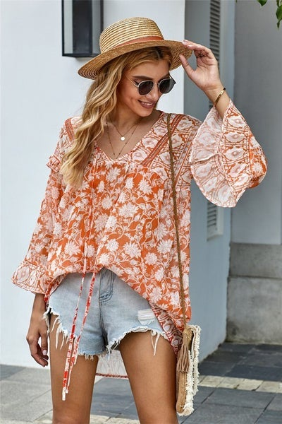 Orange Floral Boho Print Free Flow Tunic