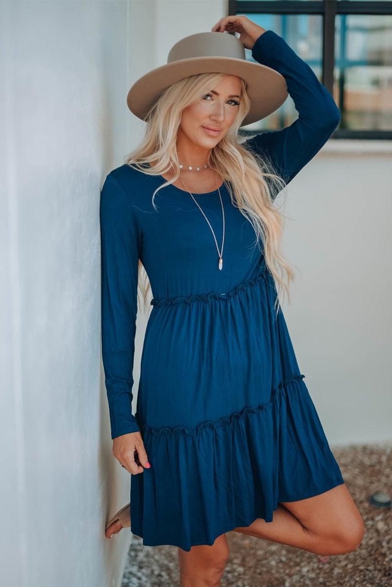 Ruffle Tiered Long Sleeve Jersey Knit Swing Dress