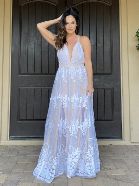 Sheer Floral Flocked Mesh Maxi Gown