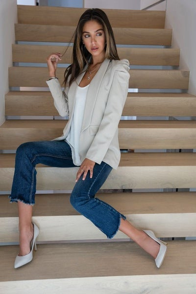 Beige Bubble Shoulder Long Line Blazer