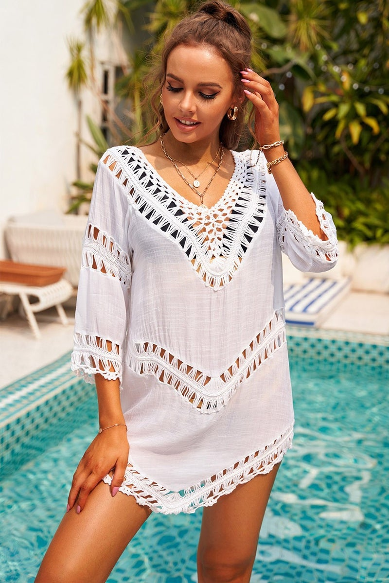 White Crochet V-Neck Hollow-Out Beach Cover Up Tunic