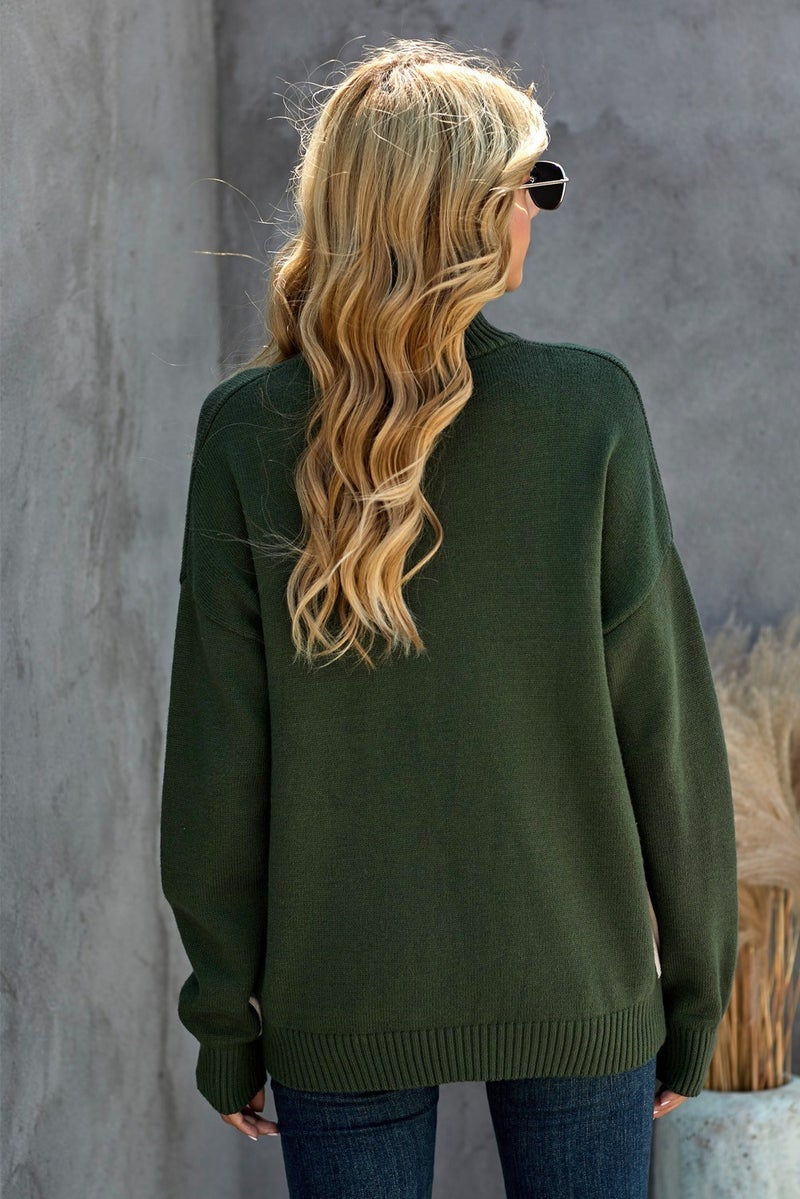 ZIP High Neck Pullover Boxy Sweater